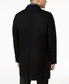 INC Men's Slim-Fit Overcoat, Created for Macy's - Black XXL