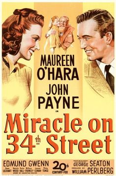 Vintage Christmas Ephemera ~ Miracle on 34th Street Movie Poster --> and Natalie Wood as the little girl.  Xmas just isn't xmas without this movie  <3