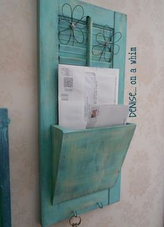 I Love That Junk: Old shutter shelf and mail holder - Denise on a Whim