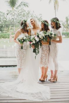 mismatched white lace bridesmaid dresses                                                                                                                                                     More