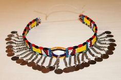 AFRICAN MAASAI MASAI BEADED ETHNIC TRIBAL CHOKER NECKLACE JEWELRY - MARA #19 #Handmade