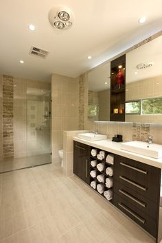 A dream bathroom- so large you could hop, skip and jump across it! Not to mention the double sinks!!!
