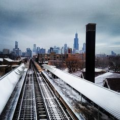 View of downtown Chicago from southbound El tracks.