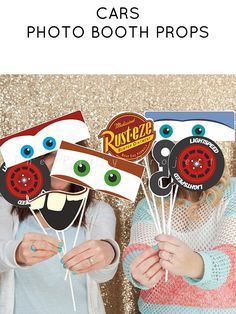 DIY PRINTABLE Cars photo props | Cars themed birthday party or baby shower decorations | Lightning McQueen, Mater, Sally | Cars photo booth! #ad