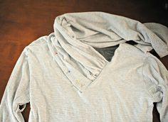 DIY: V-neck into Gathered Cowl Collar Trash To Couture: DIY: V-neck into Gathered Cowl Collar Revamp Clothes, Diy Clothes Life Hacks, Clothing Hacks, Sewing Clothes, Trash To Couture, T Shirt Sewing Pattern, Dress Sewing Patterns, Clothing Patterns, Sweatshirt Makeover