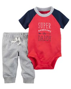 Carter's Handsome Like Daddy Bodysuit & Pants Set, Baby Boys months) - Red 12 months Carters Baby Boys, New Baby Boys, Baby Kids, Twin Boys, Little Boy Fashion, Kids Fashion Boy, Baby Boy Outfits, Kids Outfits, Joggers Outfit