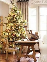 Christmas Tree Elegance w/Shades of Gold,Copper,Bronze,Chocolate & Lime Ornaments, Clear & Gold Lights