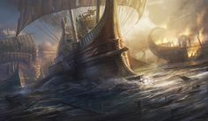 Concept art painting for the game Total War:Rome II. The ship is a roman commanding ship from the late period, joining the battle of Actium. The design . Paladin, Empire Total War, Battle Of Actium, Old Sailing Ships, Roman Warriors, Environment Concept Art, Fantasy Landscape, Fantasy Art, Ship Art
