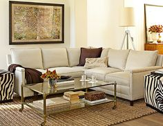 Just the coffee table!  Gold and glass with casters.  Living Room | Williams-Sonoma