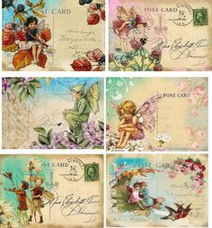 Vintage inspired small fairy post cards tags, ATC altered art set of6