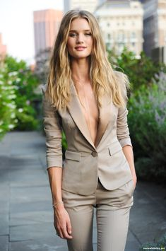 Love this look! Are you bold enough to carry off a suit with nothing underneath? Dare to wear it! This outfit was stolen from men but looks smoking hot and feminine !