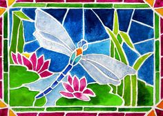 Dragonfly and Water Lilies In Stained Glass 2 Painting by Janis Grau - Dragonfly and Water Lilies In Stained Glass 2 Fine Art Prints and Posters for Sale
