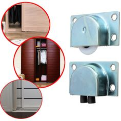 4pcs White Metal Wardrobe Sliding Doors Plastic Bearing Wheel