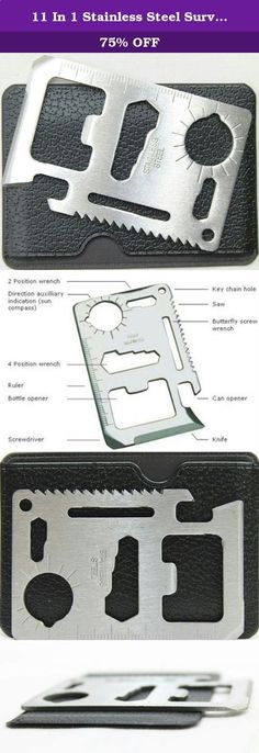 11 In 1 Stainless Steel Survival Credit Card Sized Multi Tool. If you spend a lot of time camping, a lot of time outdoors, or just like being prepared for anything, then you know the importance of saving space. This 11-in-1 multipurpose tool solves a lot of problems in one credit card-sized item. All in one knife, saw, ruler, 2 position wrench, 4 position wrench, bottle opener, can opener, sun compass, key chain hole, butterfly wrench, and screwdriver. It comes with its own protective ...