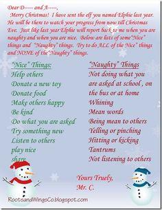 Elf on the Shelf letter to kids. Good Santa letter in general. Christmas Love, All Things Christmas, Winter Christmas, Christmas Crafts, Christmas Ideas, Xmas, Christmas Labels, Toddler Christmas, Father Christmas