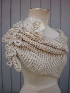 Bridal Bolero Bridal Shrug Wedding Shrug Bridal shawl by Winter Wedding Shawl, Wedding Shrug, Bridal Shrug, Fall Wedding, Knitted Shawls, Crochet Scarves, Crochet Shawl, Knit Crochet, Crochet Hooks