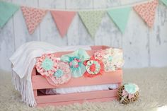 Newborn Photography Prop Set: Crate, bunting, headband and sash on Etsy, $74.50