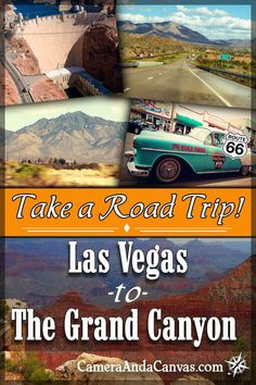If you're in Las Vegas and want to take a trip to the Grand Canyon South Rim, this article will show you what places are worth stopping at along the way on the 4 hour drive! Things to do near Las Vegas include the Hoover Dam and Lake Mead in Boulder City, Nevada. You can also drive on Route 66 and visit the small town of Williams Arizona which is a great place to go if you're looking for places to stay near the Grand Canyon! #GrandCanyonSouthRim #RoadTrips #Arizona #Route66 #hooverdam