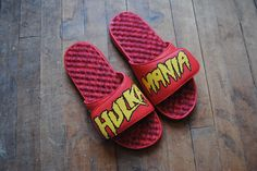 Yes, this happened. Custom 1 of 1 special edition pair. Hulkamania slides. What slides would you make and give as a gift? #holiday #gifts #wishlist