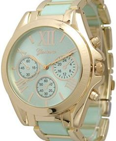 Womens-Geneva-Roman-Numeral-Gold-Plated-MetalNylon-Link-Watch-Mint-0