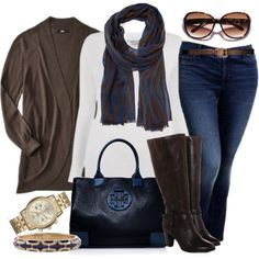 """""""Chocolate and Navy - Plus Size"""" by alexawebb on Polyvore boo...just looked for the scarf and it's sold out at $17 :("""