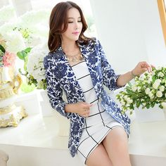 2014 Autumn Slim Women's Blazer & Suits Jacket Outwear Long Sleeve Feminino vestidos Floral Blaser Chaquetas Mujer