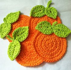 """Here is the free pattern for the """"Oranges"""" Crochet Coaster Set! It is the same pattern as used for """"Lemons"""" but done up in Orange! Have fu..."""