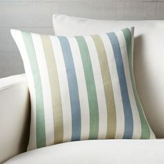 "Shop Norma Stripe 18"" Pillow.  Skilled artisans in India, weave hand-dyed yarns on traditional loom to create this classic French stripe pillow in soft green, blue and ochre."