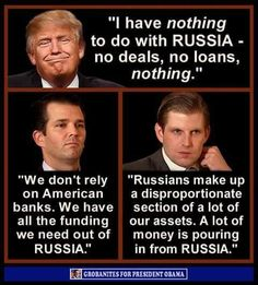 """A source close to Deutsche Bank says Trump's tax returns show he pays very little income tax and, more importantly, that his loans have Russian co-signers. If true, that explains every kind word Trump has ever said about Russia and Putin."