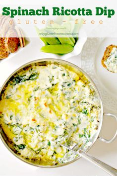 Gluten-Free Baked Spinach Ricotta Dip - Only Gluten Free Recipes Ricotta Cheese Recipes, Queso Ricotta, Baked Ricotta, Spinach Ricotta, Spinach Recipes, Dip Recipes, Appetizer Recipes, Appetizers, Healthy Vegetable Recipes