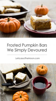 Frosted Pumpkin Bars We Simply Devoured #recipe #thanksgiving *Saving this for later.