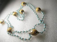 Vintage 50's/40' Rare Lt Blue Glass Bead & Yellow Honeycomb Cut Necklace #unbranded #longbeadedstrand