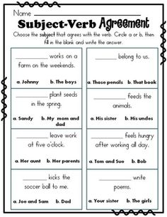 Singular and Plural Nouns with Matching Verbs by Rock Paper Scissors Subject Verb Agreement, Subject And Verb, 4th Grade Writing, Teaching Writing, Teaching Grammar, Esl, Nouns Worksheet, Phonics Worksheets, Singular And Plural Nouns