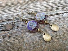 Purple Flower Boho Earrings.  Earthy Dangles.  E-547 by aonJewelryDesigns on Etsy
