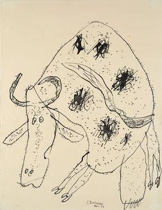 Jean Dubuffet (1901-1985)**  was een Frans kunstenaar. Hij verwerkte ook asfalt, plastic en gebroken glas in zijn schilderijen. Jean Dubuffet had een grote belangstelling voor tekeningen van kinderen, geestelijk minder begaafden en gedetineerden. Hiervan legde hij een grote verzameling aan. Hij noemde deze kunst Art Brut. Later werd het werk van Dubuffet en dat van zijn volgers aangeduid met deze term.