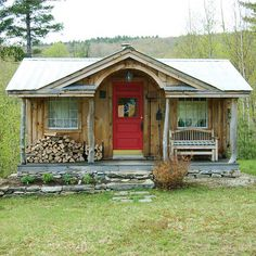 Find an array of affordable tiny house plans, small cabin kits, cottage plans & shed kits at Jamaica Cottage Shop. Ship Free to selected locations. Little Cabin, Little Houses, Small Cabin Designs, Cabin In The Woods, Cabins And Cottages, Log Cabins, Small Cabins, Modern Cabins, Prefab Cabins