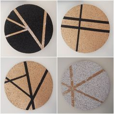Finished painted cork coasters