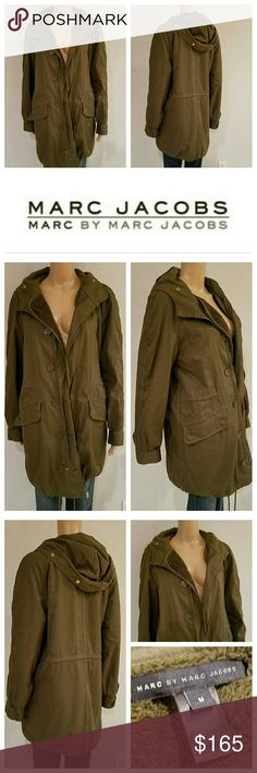 Awesome $795 MARC JACOBS Army Parka Jacket Coat This Parka from Marc Jacobs is totally awesome! Gorgeous Army Green Coat with multiple pockets, hooded,  drawstring bottom, removeable Wooly lining. The faux fur detachable piece on hood  is unfortunately missing, but otherwise coat is in perfect condition. Authentic of course and Retails for  $795 size M Marc Jacobs Jackets & Coats Utility Jackets