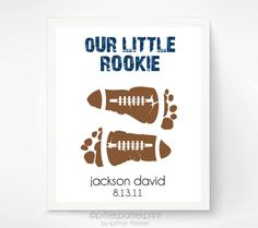 Sports Nursery Baby Footprint Football Art Print - Baby Boy Nursery, Boys Room Wall Art - 5x7 Personalized Baby Footprint Art, Kids Wall Art on Etsy, $30.00