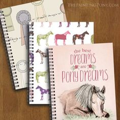 Horse lover Spiral Notebooks - small notebooks for all your note keeping needs - perfect for the equestrian who loves making lists and notes. Cute pony and horse show ribbon patterns for anyone who enjoys horseback riding and horses.