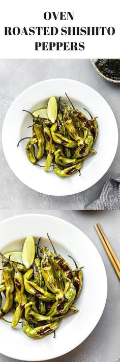 Oven Roasted Shishito Peppers with Ginger and Lemon via @thedealmatch