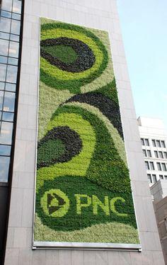 The PNC Bank living wall in Pittsburgh, Pennsylvania. Designed by Kari Elwell Katzander of Mingo Design