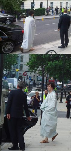 Can you even imagine being on the street and seeing Ben come walking out, wrapped in a sheet?