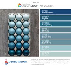 I found these colors with ColorSnap® Visualizer for iPhone by Sherwin-Williams: Honorable Blue (SW 6811), Regatta (SW 6517), Georgian Bay (SW 6509), St. Bart's (SW 7614), Leisure Blue (SW 6515), Secret Cove (SW 9058), Agua Fría (SW 9053), Watery (SW 6478).