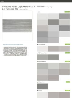 "Solistone Haisa Light Marble 12"" x 24"" Polished Tile. Travertine Tile. Flooring & Rugs. Menards. Behr. PPG Pittsburgh. Ralph Lauren Paint. Sherwin Williams. Valspar Paint. Olympic.  Click the gray Visit button to see the matching paint names."