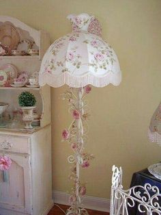 Shabby Chic Lamp with pink roses