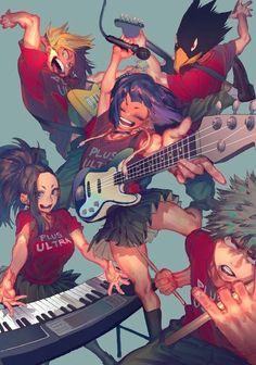 My Hero Academia - Kaminari, Yaoyorozu, Jirou, Tokoyami & Bakugou Boku No Hero Academia, My Hero Academia Memes, Hero Academia Characters, My Hero Academia Manga, Anime Characters, Manga Anime, Fanarts Anime, Anime Art, Anime Music