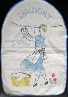 vintage hand embroidered laundry bag