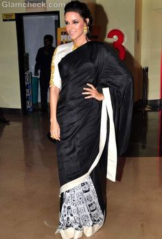 Neha Dhupia Stunning In Black Sari Indian Actress Photos, Beautiful Indian Actress, Indian Actresses, Ethnic Fashion, Indian Fashion, Eastern Dresses, Black Saree, Saree Look, Ethnic Style