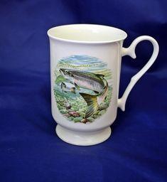 Fathers day, fishing mug, salmon scene, china mug, made in wales, hand made, coffee mug, home ware, China Mugs, Wales, Fathers Day, Salmon, Coffee Mugs, Fishing, Scene, Unique Jewelry, Tableware